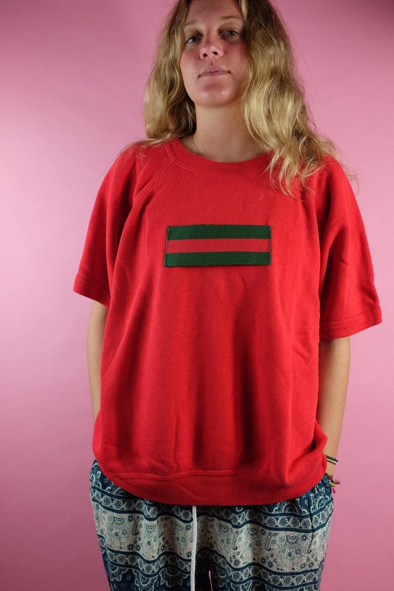 495740f5a2b Vintage 80s 90s GUCCI box logo short sleeve sweatshirt Sewn