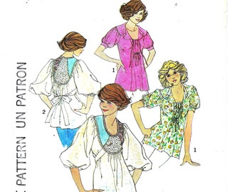 640d95317a86d Simplicity 7288 Blouse Pattern Ladies Size 12 Bust 34 Vintage 70s