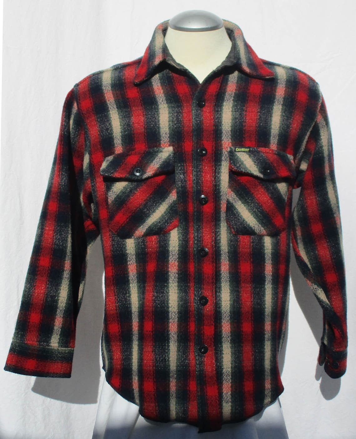 Osh Kosh B' Gosh 80s Red Plaid Button Front Shirt Jacket Size 40 M Patch Pockets Collar Long Sleeve The Genuine Article Rayon Wool Vintage