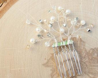 Bridal Hair Comb   Pearl and Crystal Bridal Hair Accessory   Sprig Hair Comb