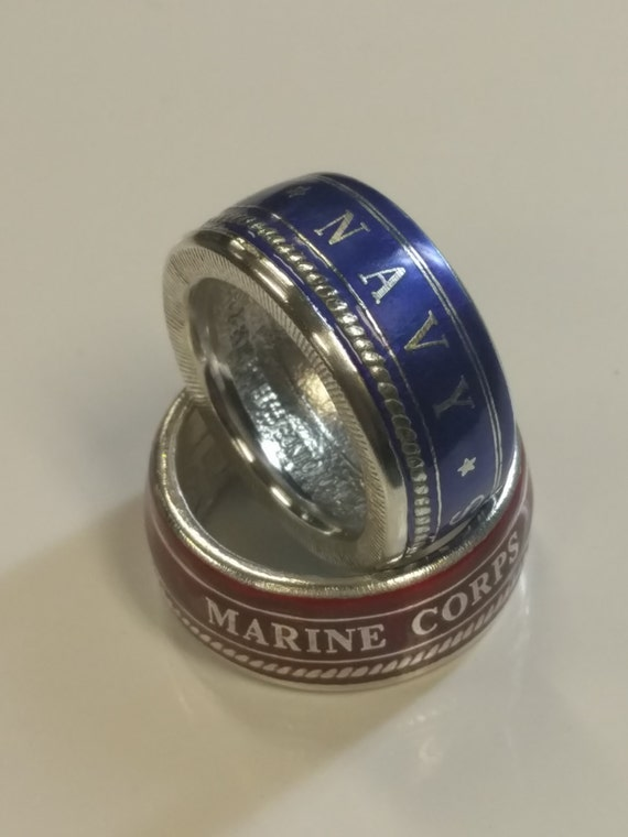 coin ring new colorized armed forces ring marines army etsy
