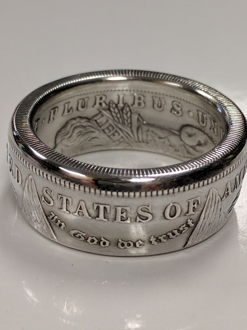 Coin Ring for Men  Morgan Silver Dollar Coin Ring Makes a Polished Silver