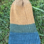 Tricolor earth tone beanie / knit beanie / knitted hat / hand knit beanie / blue beanie / green beanie / mustard yellow beanie