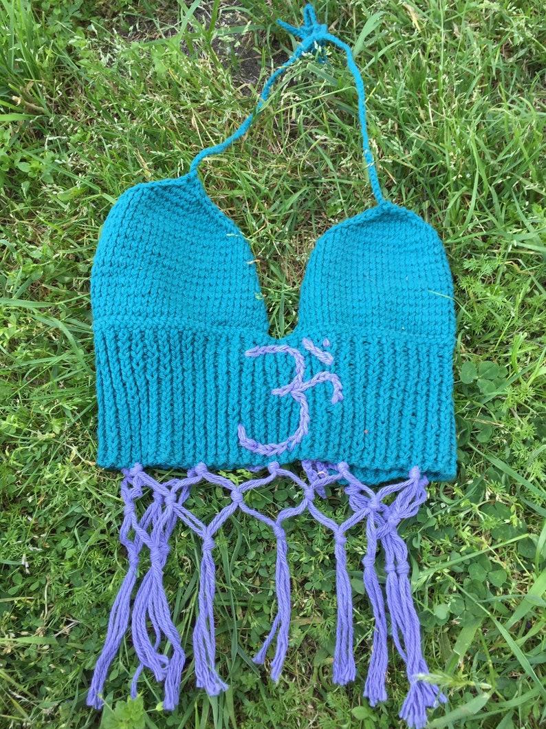 Om Bralette  bralette  knit bralette  crochet bralette  yoga bralette  yoga clothing  yoga top  yoga crop top Seed Sound