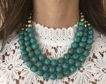 Turquoise Statement Necklace, Chunky Stone Necklace, Blue Bead Bib Necklace, Multi Layer Bead Necklace, Gift for Women, Birthday Gift