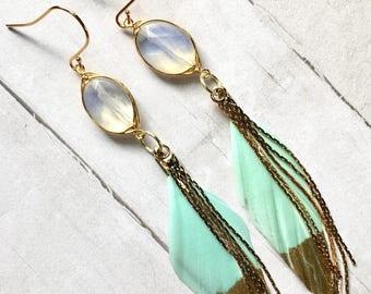 Mint Feather Earrings, Gold Tassel Dangle Earrings, Moonstone Dangle Earrings, Boho Wedding, Gifts for Bridemaids, Birthday Gifts