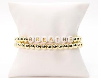 BREATHE Beaded Bracelet, Gold Beaded Bracelet, Stack Bead Bracelet, Stretch Bracelet, Inspirational Bead Bracelet, Gifts for Women, Custom