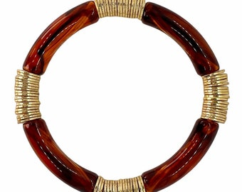 Tortoise Statement Bracelet, Gold Bead Bracelet, Boho Stacked Bracelet, Fall Jewelry, Bangle Bracelet, Fall Jewelry Gift