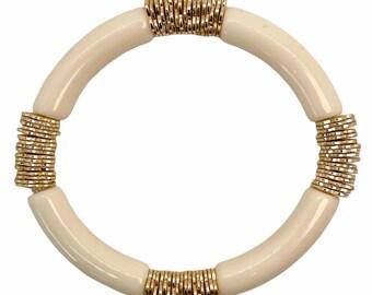 Cream Statement Bracelet, Gold Bead Bracelet, Boho Stacked Bracelet, Fall Jewelry, Bangle Bracelet, Fall Jewelry Gift