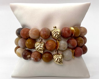 Leaf Bead Bracelets, Brown Beaded Stretch Bracelets, Layered Stack, Fall Jewelry, Gifts for Women, Stacked Bead Bracelet