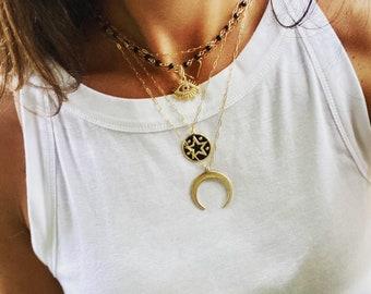 Black Pave Star Gold Necklace, Long Gold Necklace, Gold Layering Necklace, Boho Gold Necklace, Gold Filled