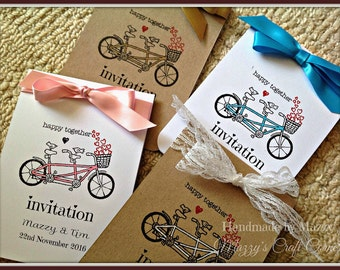 10 handmade tandem bicycle vintage wedding invitations