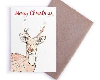 Christmas Card - Christmas Card, Recycled Card, Greeting Cards, Deer, Gift Cards, Christmas, Deer
