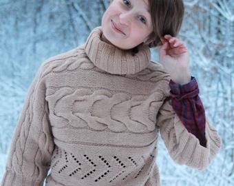 Oversized knit sweater, chunky oversized sweate, Hand knit Sweater, Womens sweater, Beige sweater