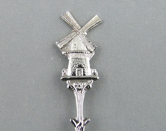 Windmill & Embossed Bowl Holland NETHERLANDS Dutch Windmill  Collectible Souvenir Spoon