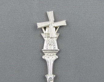 Windmill with Moving Vanes Holland NETHERLANDS Dutch Windmill Silverplated Collectible Souvenir Spoon