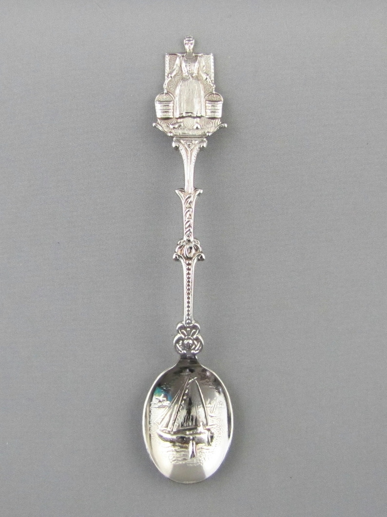 Dutch Lady Carrying Milk Buckets on Yoke Sailing Boat in Embossed Bowl Holland NETHERLANDS Dutch Collectible Souvenir Spoon