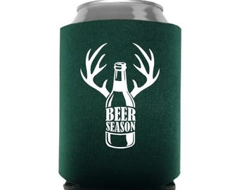 Gift For Hunters Embroidered Cozies Monogram Can Cooler Beer Can Coolers Hunting Cozies Beer Cans Antler Can Cooler Personalized Gift