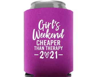NEW COLORS AVAILABLE  Custom Can Coolers Girls Night Out Best Friends Names Girls Weekend Bachelorette Party