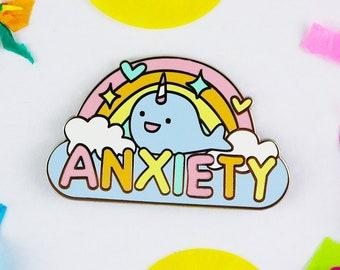 Mental health pin, Anxiety enamel pin, anxiety jewelry, rainbow enamel pin, introvert enamel pin, self care gift, Anxiety pin, awareness