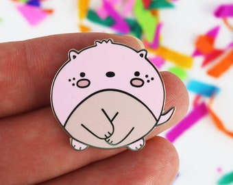 Cute enamel pins, cute enamel pin, pink enamel pin, kawaii enamel pin cute gifts for friends, lapel pin, animal pin brooches, naked mole rat