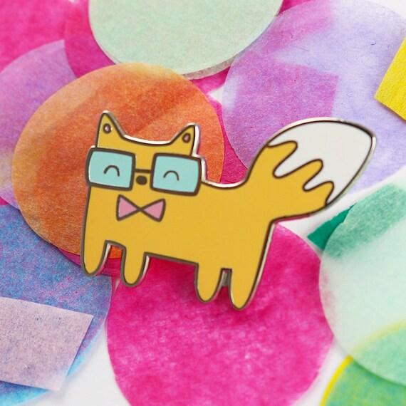 Fox hard enamel pin fox, enamel pin funny, cute enamel pins, cute pins,  cute gift for friend, kawaii pins enamel, pin badge, lapel pin cute