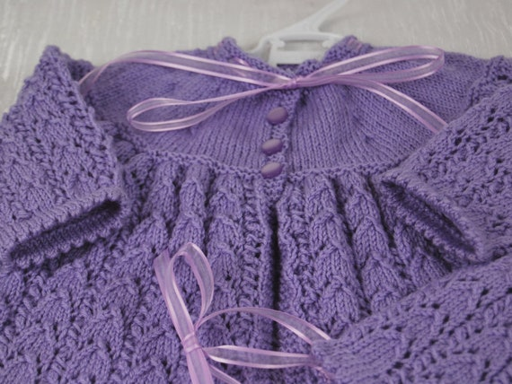 3a7ec0ff9844 Beautiful Hand Knitted Matinee Jacket and Bonnet in Machine