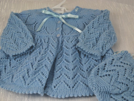 a70225d18575 Beautiful Hand Knitted Matinee Jacket and Bonnet in 100%