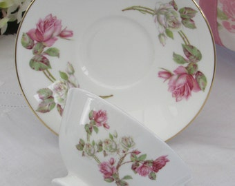 Aynsley Cup and Saucer, Vintage Tea Cup, Elizabeth Rose, Wide Mouth Teacup, Bone China Floral Teacup, Pink Roses