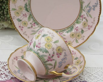 Stunning Tuscan Pink Tea Cup, Baby Pink and Gold Tuscan Tea Cup, Saucer and Side Plate, Hand Painted English Bone China