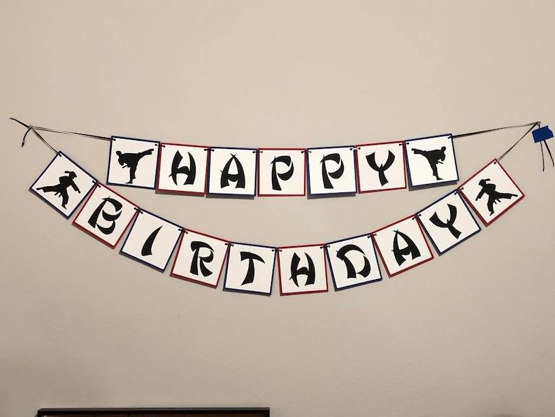 Taekwondo Happy Birthday Banner