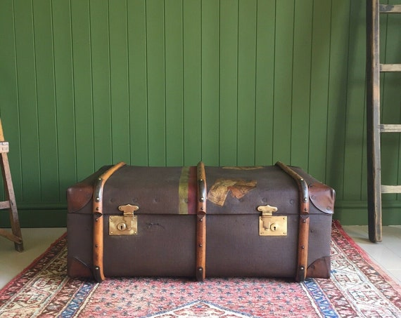 VINTAGE Steamer TRUNK Coffee Table Old 1930s Bentwood School TRUNK Storage Chest Box