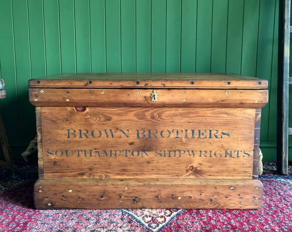 ANTIQUE PINE CHEST Victorian Industrial Chest Rustic Storage Trunk Old Wooden Chest & Trays, Key