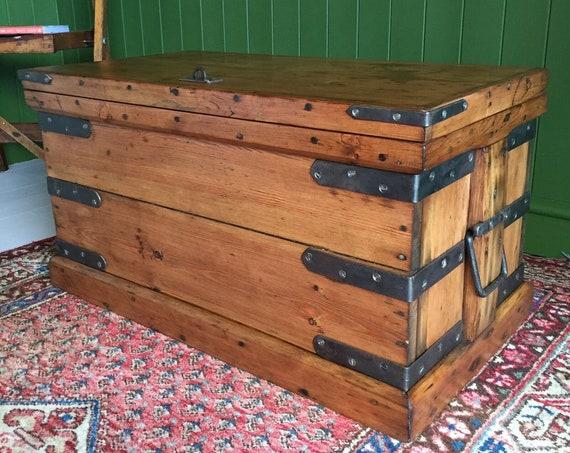 ANTIQUE Victorian PINE CHEST Old Industrial Trunk Bound Wooden Box Storage Chest Coffee Table Steampunk