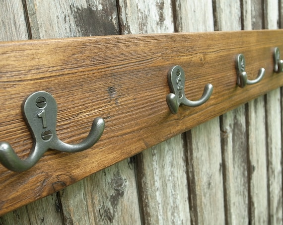 Vintage School Cloakroom Coat Rack Industrial Metal Numbered Hooks Mid Century Rustic Wood Mens Christmas Gift (80cm)