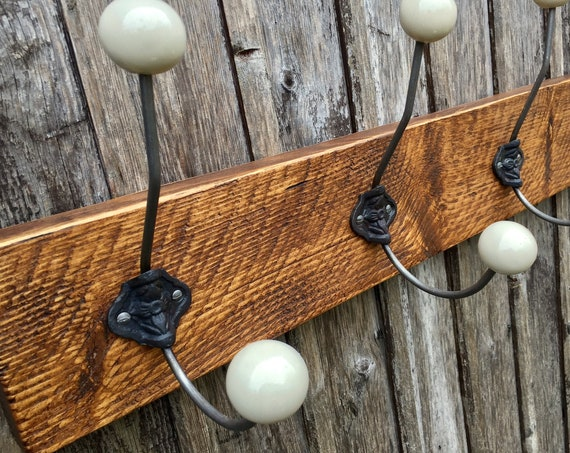 Vintage Style Coat Hooks Coat Rack Cloakroom Laundry Room 5 Hooks 85cm Ceramic Beige/Off White/Cream Reclaimed Wood -Made To Order Any Width