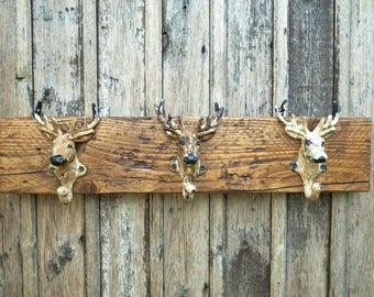 Vintage Stag Coat Rack Hooks Rustic Wood Off White Home Decor Gift for Men (55cm - 3 Hooks) LIMITED STOCK