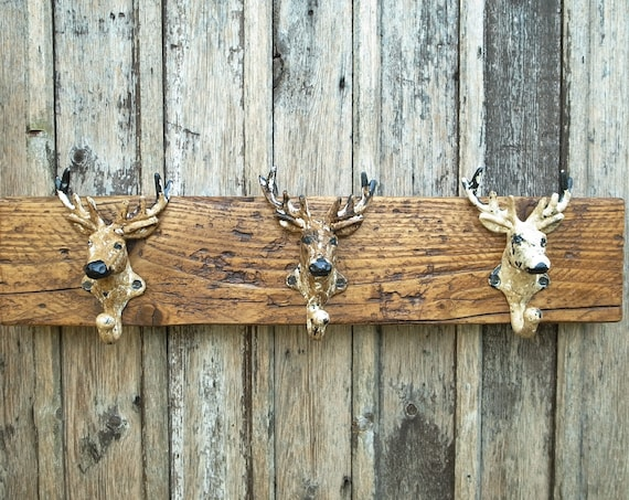 Vintage Stag's Head Coat Hooks Coat Rack Rustic Wooden Men's Gift Hunting Lodge Decor