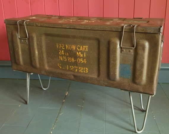 Vintage Industrial Chest Trunk Table Mid Century Military Storage Metal Box End Table Tv Stand