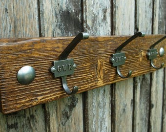 Vintage Industrial Cloakroom Railway Hooks Rustic Wooden Coat Rack Mens Gift (50cm - 3 Hooks) LIMITED STOCK