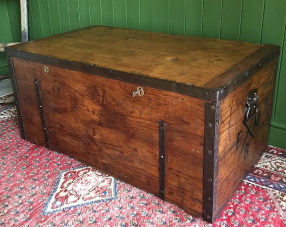 ANTIQUE Victorian Bound Campaign CHEST Old Rustic Pine Wooden Storage TRUNK + Full Zinc Interior + Key