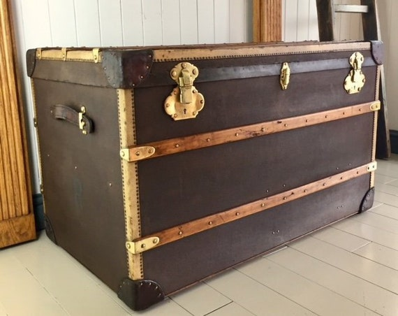 ANTIQUE STEAMER TRUNK Vintage Travel Luggage Trunk - Wurzl & Sohne - Austrian Maker equal to Top French Brands