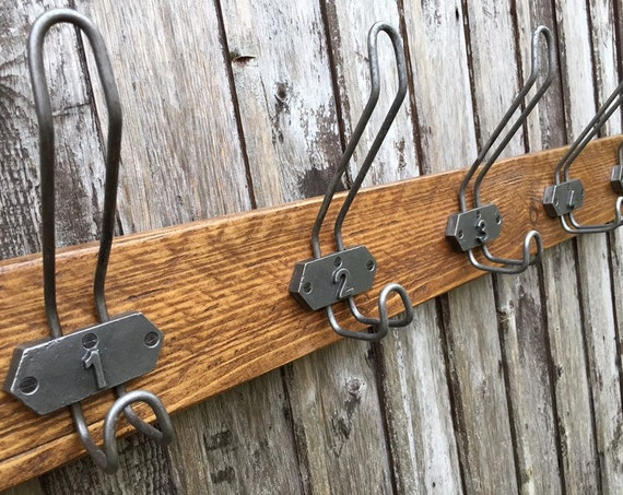 Vintage School Cloakroom Rustic Wooden Coat Rack 5 Numbered Hooks Metal Industrial Style Christmas Gift (Made To Order - Any Width)