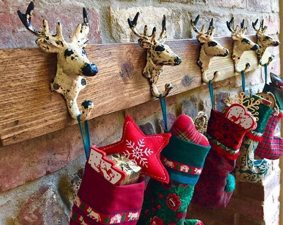 Vintage Christmas Stocking Holder Fireplace Hanger Stag Hook Rack Rustic Festive Mantel Decor Gift