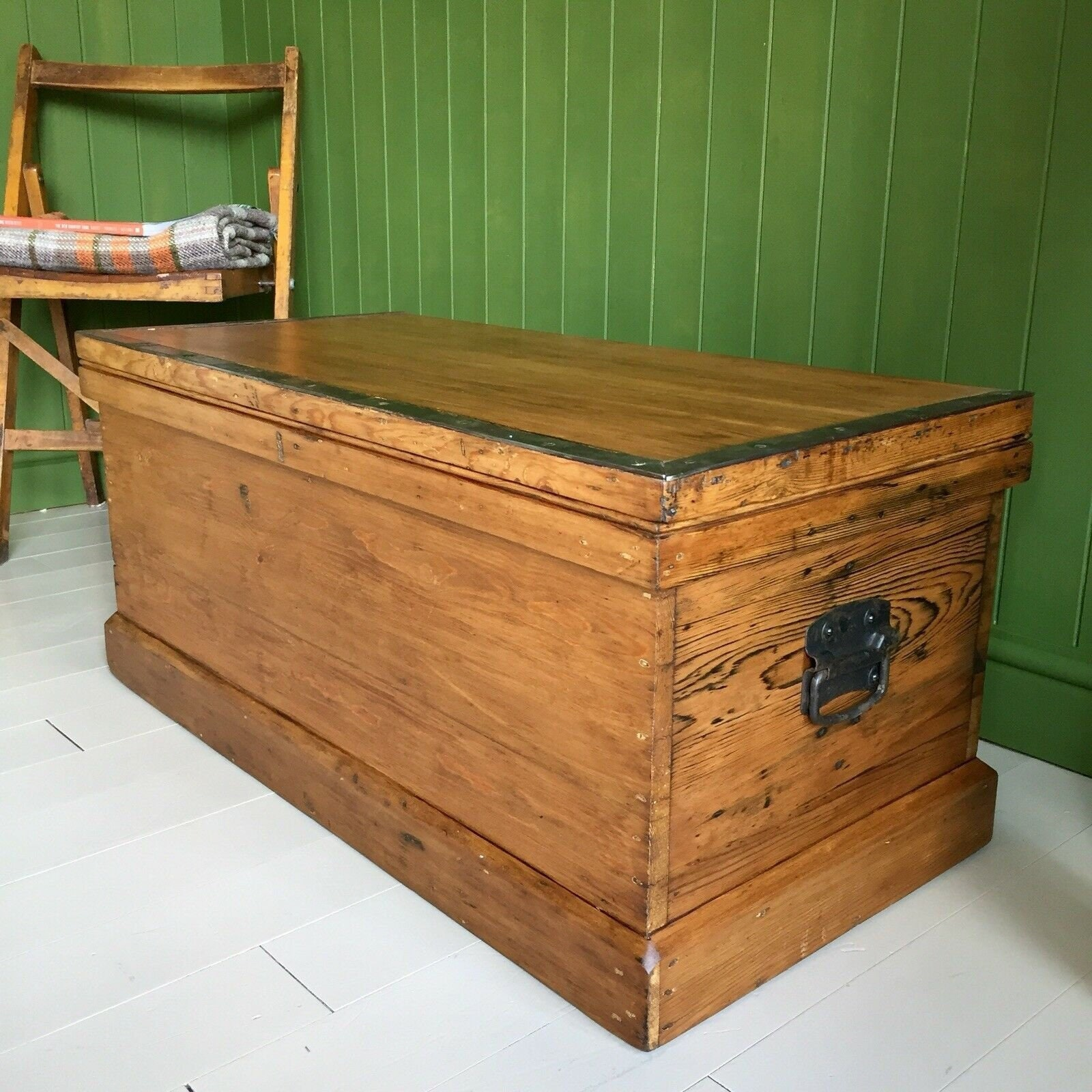 info for a860f 75031 ANTIQUE PINE CHEST Victorian Rustic Wooden Trunk Coffee ...