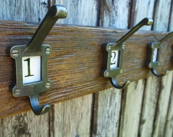 Vintage School Cloakroom Numbered Coat Hooks Coat Rack Rustic Wood 50cm #1-3 80cm #1-5 (Made To Order - Any Width) LIMITED STOCK