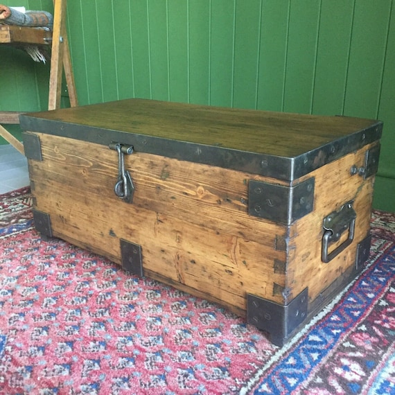 Reclaimed Vintage Military Chest Old Rustic Industrial Pine Trunk Wooden Storage Box + FREE DELIVERY