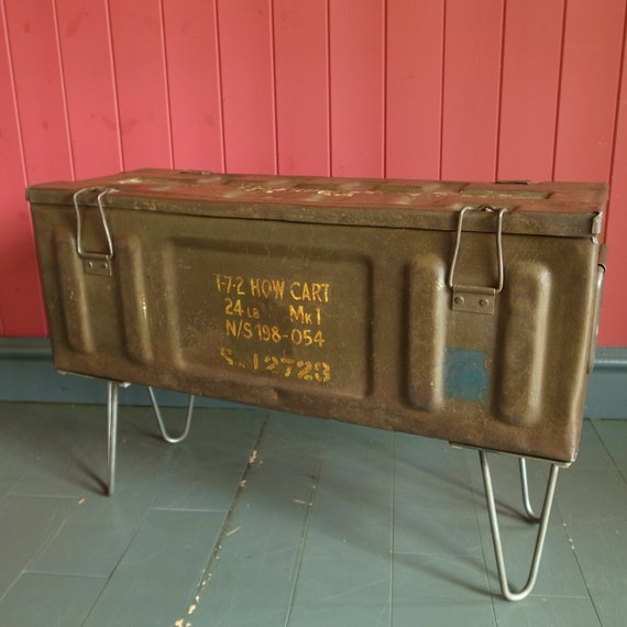Vintage Industrial Trunk Table Mid Century Military Storage Chest Metal Box + Hairpin Legs