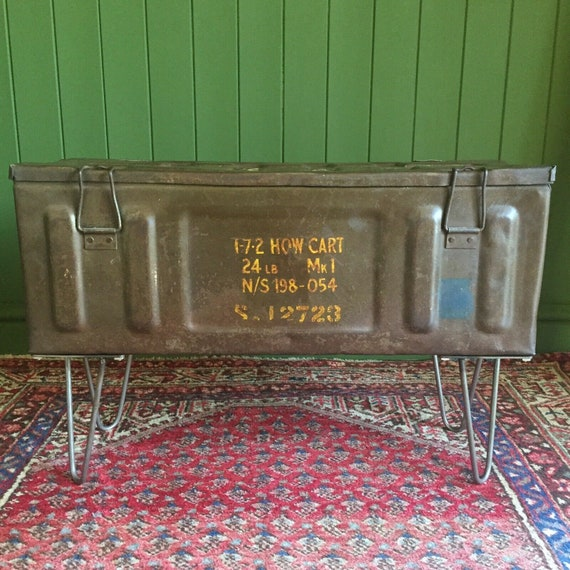 Vintage Military Chest Old Munitions Trunk Mid Century Industrial Storage Box Metal TV Stand Table + FREE SHIPPING