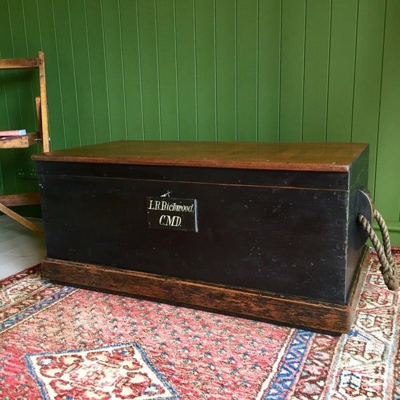 ANTIQUE Victorian CHEST Old Wooden Storage TRUNK Rustic Industrial Shipwright's Chest Coffee Table + Key